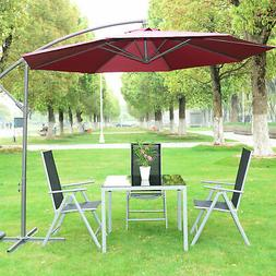 10' Cantilever Hanging Tilt Offset Patio Umbrella with Stand