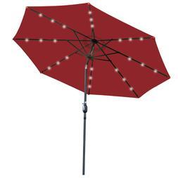 10FT Patio Solar Umbrella 24LED Patio Market Steel W/ Crank