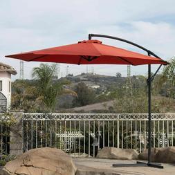 10' Hanging Umbrella Patio Terra Cotta UV Resistant Shade Of