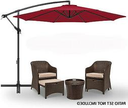 10' Patio Sun Shade Hanging Umbrella Offset Canopy Outdoor M