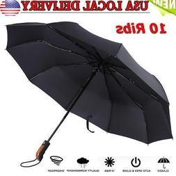 10 Ribs Compact Folding Umbrella Auto Open And Close Waterpr