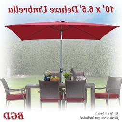 10' x 6.5' Patio Umbrella with Tilt and Crank 6 Ribs Garden