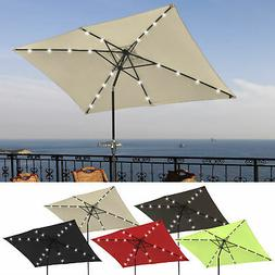 10'x6.5' Patio Outdoor Umbrella Solar LED Light Crank Tilt A
