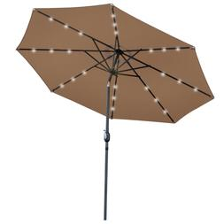 10Ft  LED Solar Umbrella Lighted  Tan Patio Market Powered T