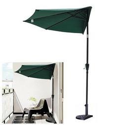 10ft Patio Aluminum Half Umbrella with Base Stand Outdoor Wa