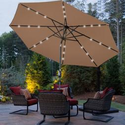 10FT Patio Solar Umbrella 24LED Patio Market Steel Tilt W/ C