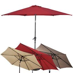 10FT Patio Umbrella 6 Ribs Market Steel Tilt with Crank Outd