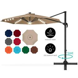 10ft Patio Umbrella Solar LED Deck Table Cantilever Hanging