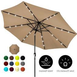 10ft Solar LED Lighted Patio Umbrella Deck Table Tilt Adjust