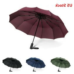 4 Colors, 12 Ribs Travel Large Umbrella Golf Teflon Automati