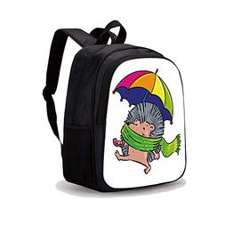 """13.7"""" Print Sublimated Backpack,Hedgehog,Smiling Animal with"""