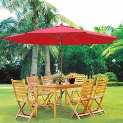 13' German Beech Wood Umbrella Patio Outdoor Garden Cafe Bea