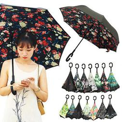 14 Colors C-Shape Handle Parasol Folding Reverse Umbrella Do