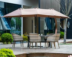 15 FT Double-Sided Patio Umbrella Outdoor Market with Crank