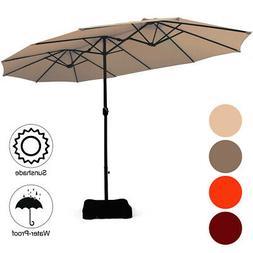15 Ft Patio Double Sided Umbrella Outdoor Market w/Crank & B
