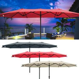 15ft Patio Twin Umbrella Double-sided Market Crank Outdoor G