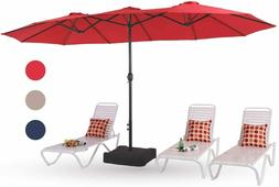 15ft Outdoor Patio Table Umbrella w/ Stand Extra Large Recta