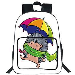 """iPrint 19"""" Large Casual Backpack,Hedgehog,Smiling Animal Spi"""