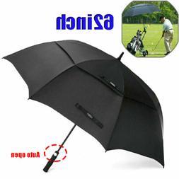 62'' Golf Umbrella Oversize Auto Open Double Vented  Large