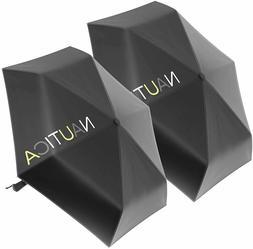 2-Pack Nautica 3-Section Auto-Open Black Umbrella - Sturdy R