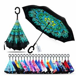 2 pack Double Layer Inverted Windproof Umbrella UV Protectio