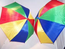 2 Umbrella Hats Multi Color For The Sun Fun & Rain FREE USA