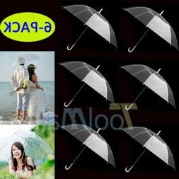 2018 6-PACK Clear Transparent Rain Umbrella Parasol PVC  for