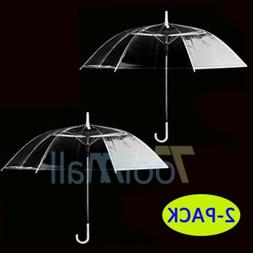 2Pack Large Transparent Clear Dome See Through Umbrella With