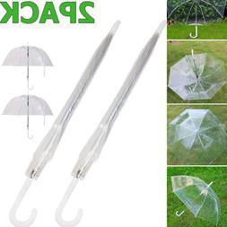"2x 46"" Clear Full Dome Umbrella Folding Compact Transparent"