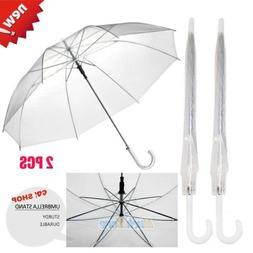 2x Fashion Transparent Clear Rain Umbrella Parasol Dome for