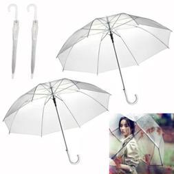 2X Large Clear See Through Umbrella Handle Transparent Walki