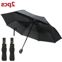 2X Portable Windproof Umbrella Anti-UV Sun Rain 3 Folding Co