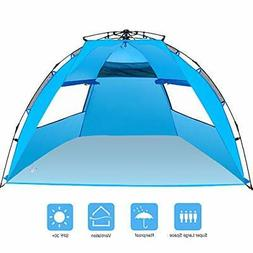 Amagoing 3-4 Person Instant Pop Up Beach Tent Sun Shelter Fa