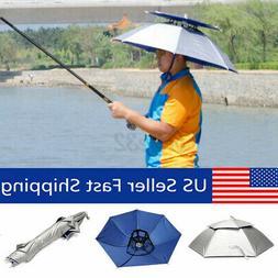 "30"" Foldable Head Umbrella Hat Cap Double Outdoor Sun Headwe"