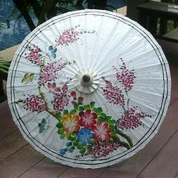 """34"""" Thai Umbrella Flowers & Butterflies Bamboo Hand Painted"""