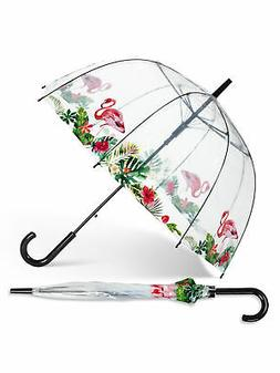 "37"" Clear Plastic Bubble Umbrella With Flamingos With Tropic"