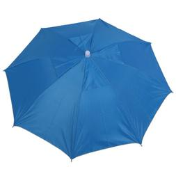 39cm/15.3 Sky Blue Polyester Folding Umbrella Hat with Adjus