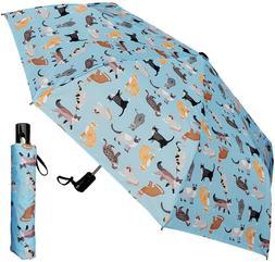"44"" Arc Kitty Cat Print Blue Auto Mini Umbrella -RainStopper"
