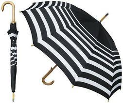 "46"" Auto Black & White Stripe Print Umbrella with Wood Hook"