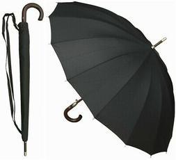 "46"" Auto Open Black 16-Panel Umbrella with Wood Hook HandleI"