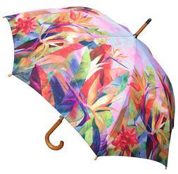 "48"" Arc Birds of Paradise Print Auto-Open Umbrella -RainStop"