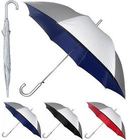 "48"" Arc Silver Auto-Open Umbrella Rain/Shine - RainStoppers"