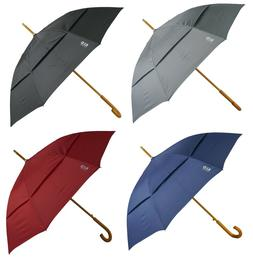 "KUD 48"" Classic English J hook wooden stick umbrella w/ Wind"