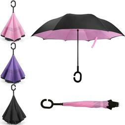 """48""""Folding C-Handle Windproof Double Layer Upside Down Inver"""