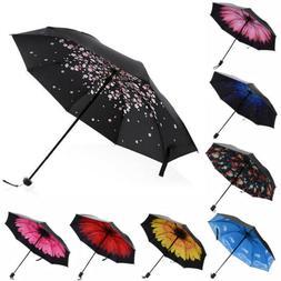 50+ Anti-UV 3 Folding Umbrella Rain Sun Protection Windproof