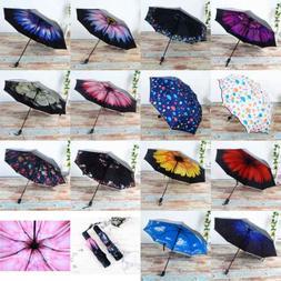 Anti-UV Sun Rain Umbrella Parasol Protection Windproof Flowe