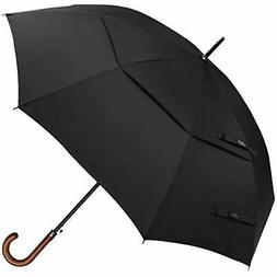 G4Free 52/54/62inch Wooden J Handle Golf Umbrella Windproof