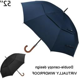 52''Wooden Large Double Golf Umbrella Men Women Windproof Au