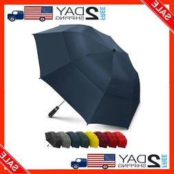 58 Inch Portable Golf Umbrella Large Windproof Double Canopy