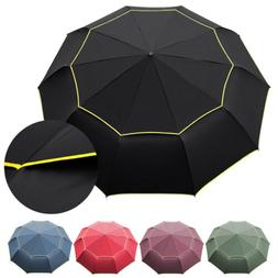 "58"" Large Rain Golf Umbrella Windproof 3 Folding Double Cano"